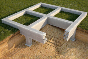 Reinforced concrete strip foundation