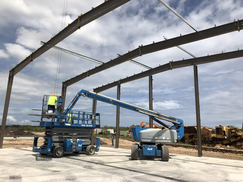 erecting steel columns