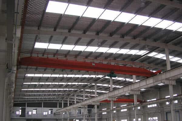 steel building with crane