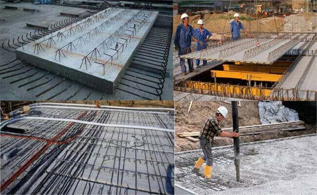 Precast concrete laminated floor